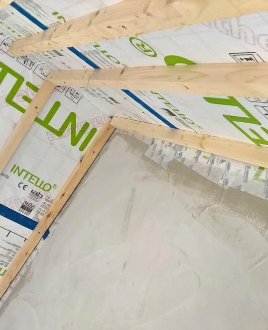 Airtight Membrane Sealed to Airtight Plaster