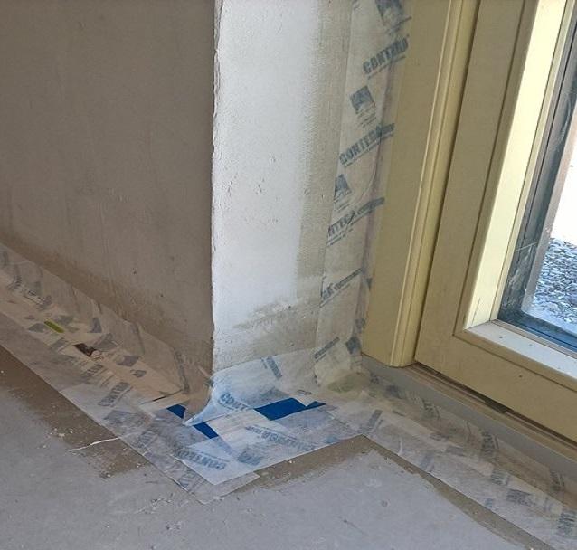 Airtight tape around window