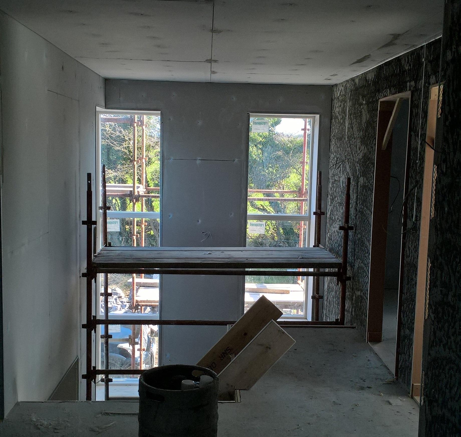 Preparing a landing upstairs for plastering